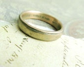 Rustic Men's Wedding Band , 10k Yellow Gold Men's Wedding Ring, Comfort Fit, Engraved, Stamped, Oxidized Antique Patina... 6 x 2mm