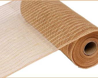 10.5 Inch Natural Jute Poly Mesh RY800518, Deco Mesh Supplies