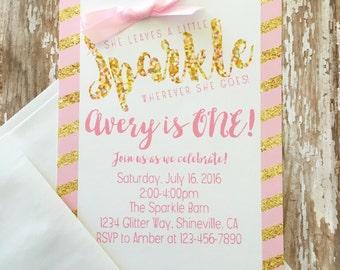 12 gold first birthday invitations, printed sparkle 1st birthday invite, gold glitter sparkle invites, first birthday pink & gold invites