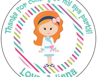 spa party stickers, custom makeover birthday stickers, custom spa stickers, spa birthday party labels, 3 sizes available