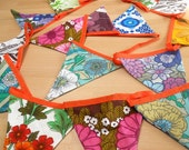 SALE LONGER length  RETRO  Bunting ,  Vintage  60s / 70s fabrics in super bright funky designs