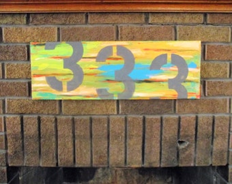 House Numbers Art 8 x 24 canvas Wedding Gift Mothers Day Stenciled graphic Modern Industrial Art Abstract Number decor Housewarming Bridal