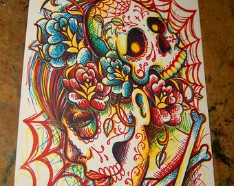 ORIGINAL DRAWING Sharpie Pop Art Artwork 8.5 x 11 in.  Day of the Dead Sugar Skull Girl Tattoo Art Illustration