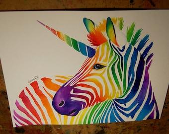 ORIGINAL 11x14 in. Watercolor Painting - Zebracorn - Colorful Rainbow Fantasy Pop Art Painting