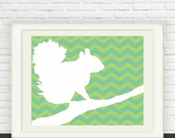 Squirrel Print with Green and White Chevron // Digital Download // Children's Art // Printable Art // Nursery Art // Animal Wall Art