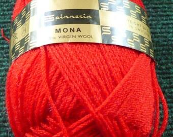 1 - Spinnerin - Mona Yarn - 100% Virgin Wool - 912 - Red - 50 Grams - Read Description