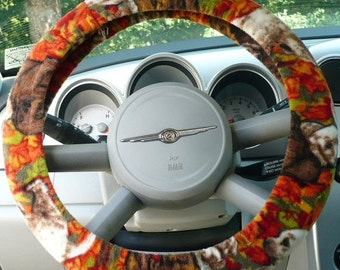 Save 10% Fleece - ( Warm ) -  Car  Steering Wheel Cover - ( Cars Only ) -  Labadors In Fall Theme