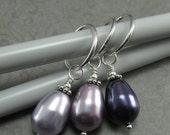 ON SALE Luxury Sterling Silver and Swarovski Pearl Stitch Markers Lavender, Mauve, Dark Purple