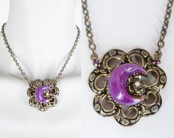 Vintage 60s Necklace / 1960s Brass Pendant Necklace with Purple Crescent Moon Cabochon