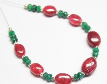 45% GOOD FRIDAY SALE 6 Inches - 3-10mm Natural Emerald Faceted Roundel and Ruby Smooth Oval Nuggets