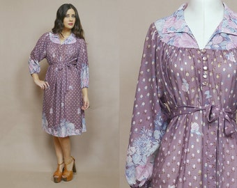 Floral Midi Dress Lilac Purple Belted 70s Shirtdress Puff Sleeves Button Up Flared Skirt 1970s Hippie Boho Semi Shear / Size M Medium