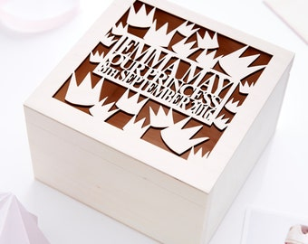 Crown Personalised Christening Keepsake Box