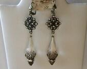 Topaz Earrings, Light Topaz, Victorian Earrings, Shabby Chic, Tudor