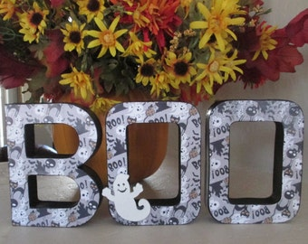 BOO in paper mache letters, Halloween Decoration, BOO, Halloween Decor, Halloween