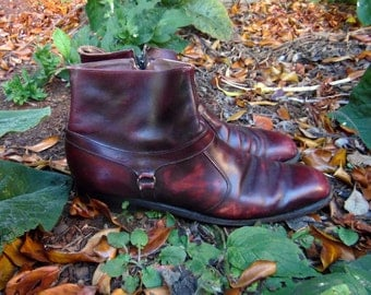 70s Oxblood Leather Beatle Boots Mod Hipster Rocker Boots Mens 13/14