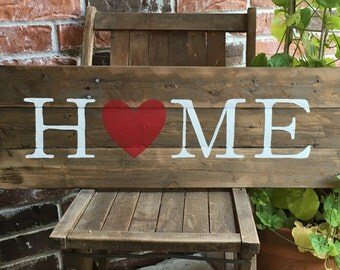 HOME with Red Heart, Reclaimed Wood Sign, I Love Home, Heart Sign, Wood Love Sign, Hand-painted Wood Sign, Home Love Sign,