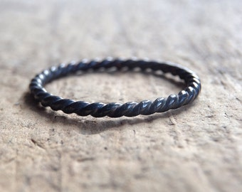 Black Silver Twist Ring, Black Twist Ring, Sterling Silver Ring Band, Black Rope Ring, Stacking Ring, Bohemian Ring, Bohemian Jewelry