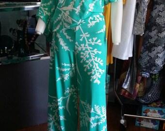 Off The Shoulder Jumpsuit Mint Floral Print