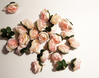 Silk Flowers - 25 Small Roses - Light Pink Roses