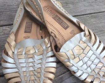 Golden Metallic Woven Huarache Sandals 80's 9.5