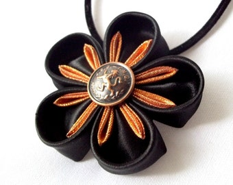 Black and Copper Satin Flower Statement Necklace