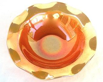 Vintage Iridescent Carnival Glass Marigold Ruffle Bowl, Fuschia Flowers, Bleeding Heart, Shining Orange