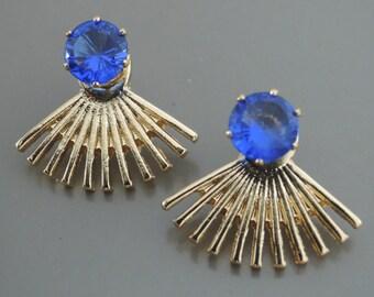 Ear Jackets - Sapphire Blue Earrings - Crystal Earrings - Stud Earrings - Statement Earrings - Post Earrings