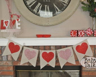 Valentine's Day Love Heart red pink and white Glitter Burlap linen fabric Banner Bunting -decor - mantel banner or great for photo props