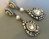 Long Bridal Earrings with Pearl in an Art Deco style with Clear Rhinestone in gunmetal finish Great Gatsby wedding earrings
