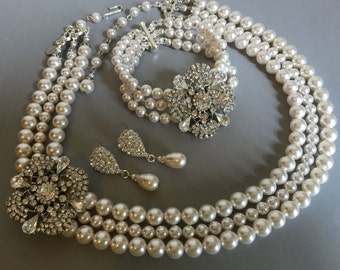 COMPLETE Wedding Jewelry Set Pearl Necklace Bracelet and Earrings 3 strands of Swarovski pearls with Rhinestone wedding jewelry sets gift