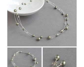 Sage Floating Pearl Jewellery Set - Powder Green Necklace, Multi-strand Bracelet and Stud Earrings - Bridesmaid Gifts - Woodland Wedding