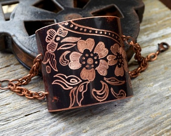 Hand Patinaed & Engraved with Indian Mehndi Design Copper Cuff Bracelet : Mehndi12