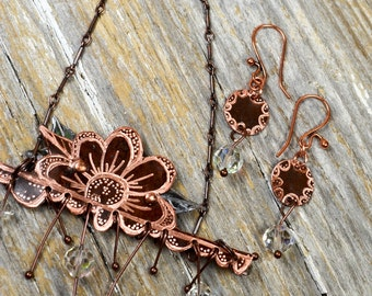 Floral Meets Lace in a Hand Engraved Mehndi Inspired Art To Wear Design Necklace with Matching Earrings Set - ReaganJuel: Reclaimed6
