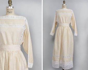Boho Ivory Dress XS/S • 70s Dress • Lace Bohemian Dress • Mexican Wedding Dress • Dolman Sleeve Dress • Faux Edwardian Dress  | D922