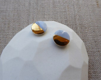 Half Gold Round Disc Earrings since2012