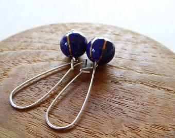 Orbit glazed ball  earrings with gold lustre SALE