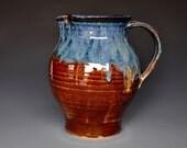 Pottery Ceramic Pitcher Butterscotch and Blue Jug