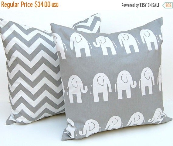 SALE Decorative Pillow Covers -  Children Decor - Gray Pillow Covers - Elephant and Chevron - Nursery Pillow Covers - 18 x 18 - Grey Nursery