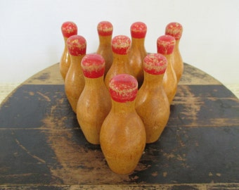 Vintage Small Wooden Bowling Pins - Eclectic Decor - 10 in Lot - Red Top Bowling Pins