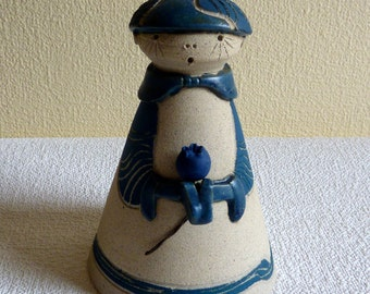 Vintage Quebec Art Pottery Figurine - Boy Holding a Blueberry - Artist Signed
