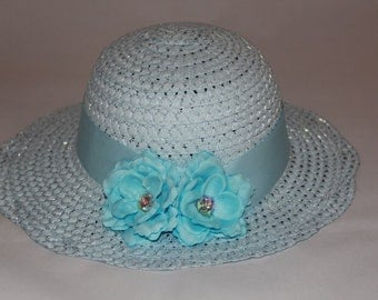 Tea Party Hat - Light Blue Easter Bonnet with Satin Ribbon - Girls Sun Hat - Easter Hat -  Birthday Hat - Sunday Dress Hat - Derby Hat  1665