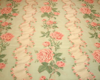 Shabby Chic Cottage Pink Roses Re-Purposed Vintage Rayon Faille Fabric Piece - 58 Inches Long x 44 Inches Wide