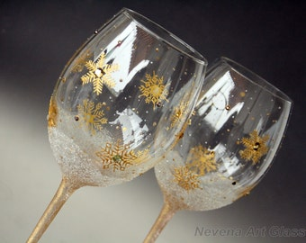 Wine Glasses Snowflakes Glasses, Gold Winter Wedding Glasses,Set of 2 Hand Painted