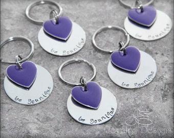 "1"" STERLING SILVER KEYCHAIN - hand stamped keychain, personalized keychain, heart keychain"