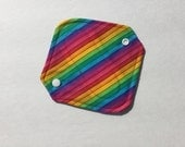 """Cloth Panty Liner All In One Cotton Fleece 6.5"""" Rainbow Stripe"""