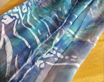 Blue Hand Painted Patterned Silk Scarf