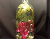Hand Painted Glass Lighted Wine Bottle - Grapes 'n Gold - EMH-2
