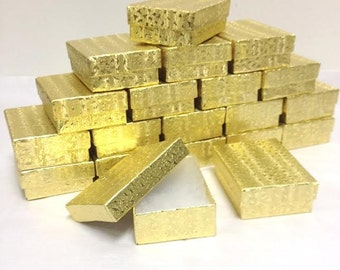 Gold Foil Boxes - 20 count (2.5 x 1.5 x 1) Cotton Filled Jewelry Boxes