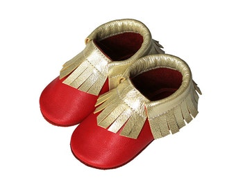 Leather baby moccasin toddler moccs soft-soled shoe handmade baby moccs Red Beige