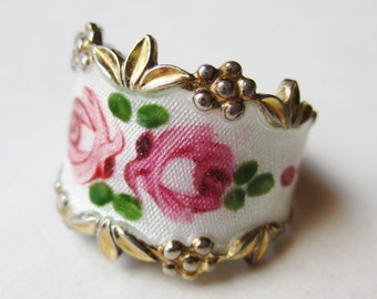 Vintage Ring Sterling Silver Enamel Espo Pink & Red Floral Band Ring size 6 1/2
